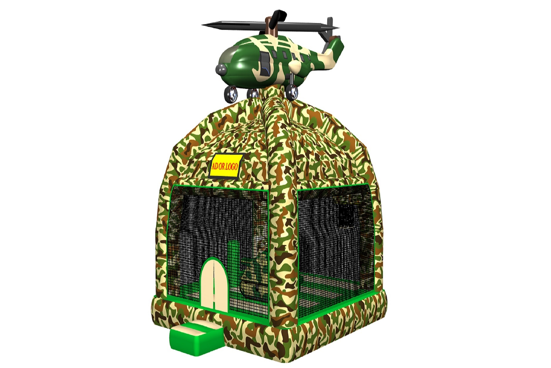 Camouflage Helicopter inflatable bounce castle