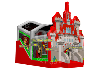 castle slide with jump bag playround