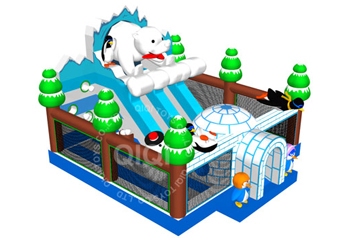 Polar bears with penguins in winter playground