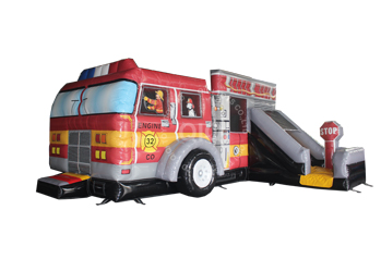 Fire truck themes inflatbale combo