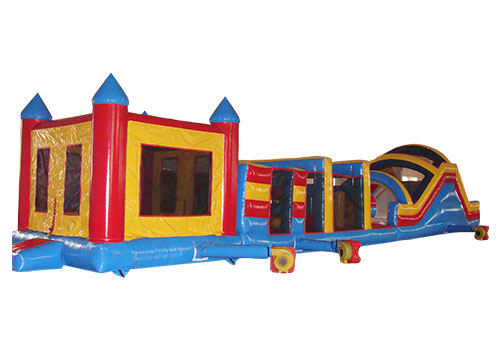 60ft obstacle course with bouncy castle