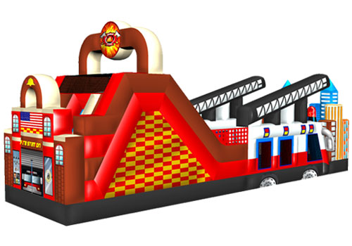 Fire Station & Fire Truck Inflatable Obstacle