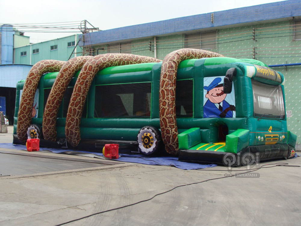Inflatable Jungle Bus Obstacle Game