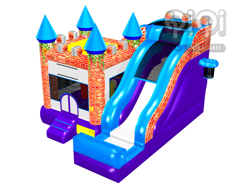 Newest Design Bouncy Castle With Slide-QCO-3555-b-1