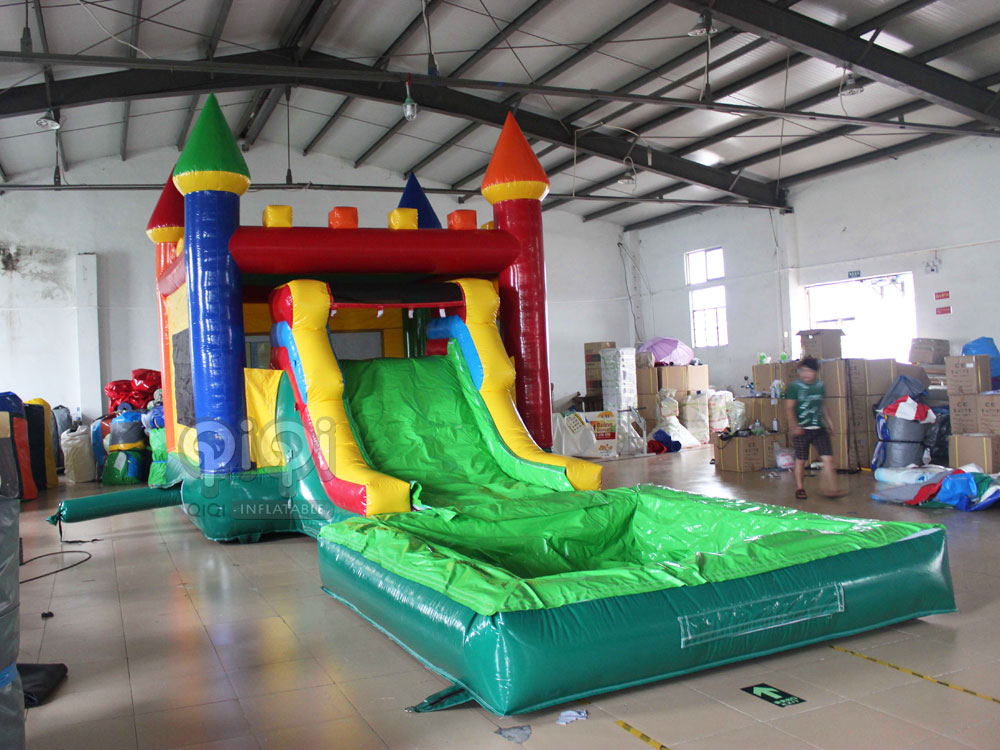 kids castle slide with water pool