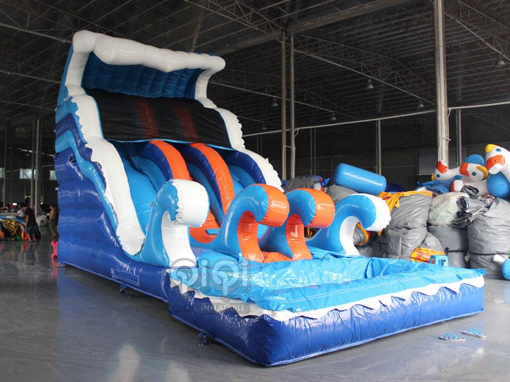 wave inflatable slide n pool