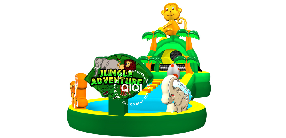 commercial inflatable playzone jungle water slide