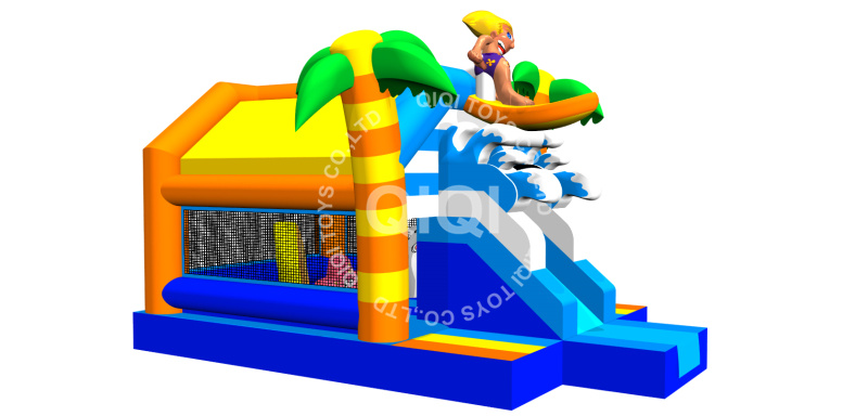 Surfer fun jumping castle with slide